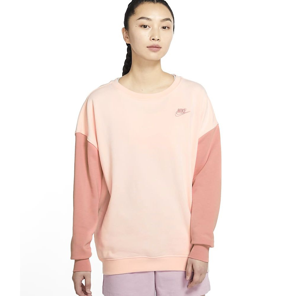 NIKE NSW CREW FLC PASTEL COLOR 女 長袖上衣 紅粉