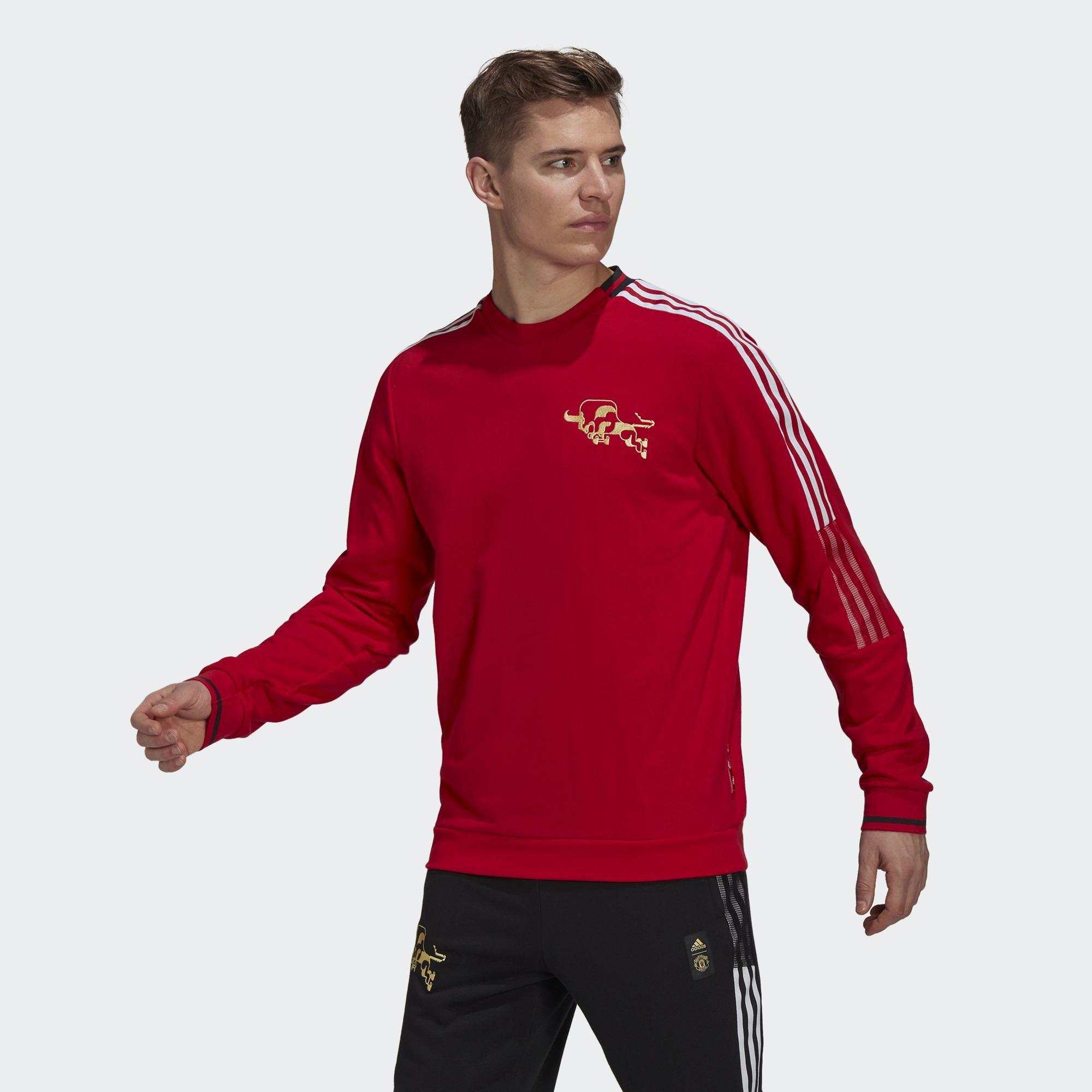 ADIDAS MUFC CNY CR SWT 男 長袖上衣 紅