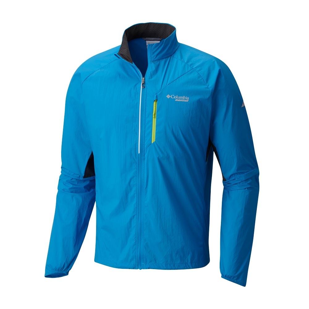 Columbia 男 涼感防潑野跑風衣 藍色