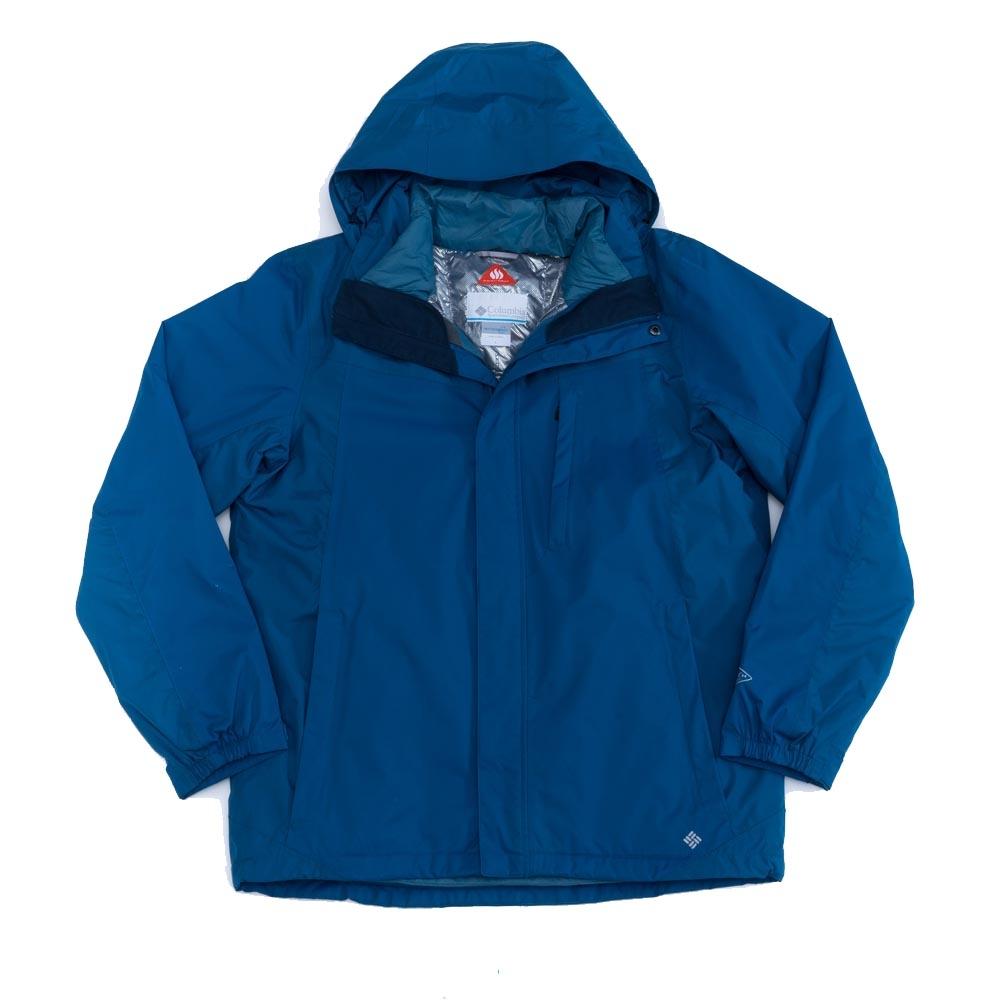 Columbia 男 羽絨兩件式連帽外套 藍色
